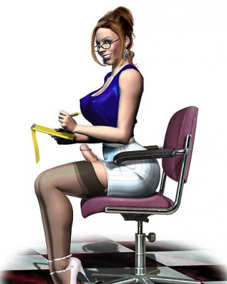 busty futanari secretary